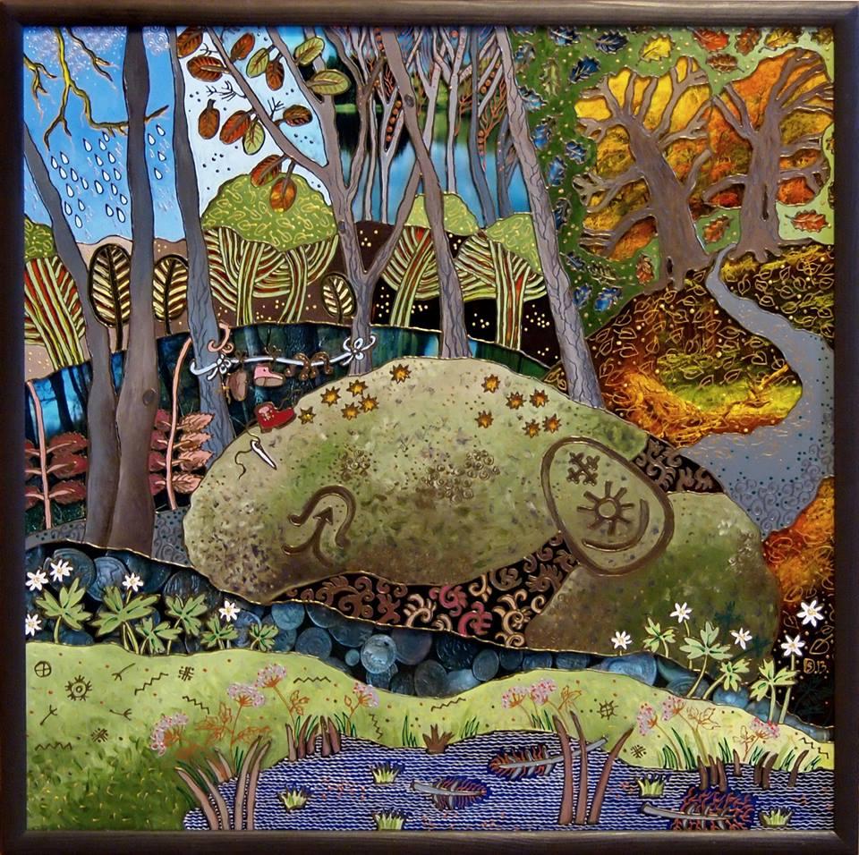 Valiulio akmuo – D.Stalauskienės piešinys ant stiklo