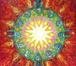 """Virginijaus Kašinsko paveikslo """"Lopaičių alkakalnio saulutė"""" dalis (2008 m. drobė aliejus, 170-110 cm.)   V. Kašinsko nuotr."""