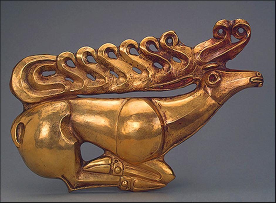 Auksinė skydo plokštelė iš Pajuodjūrio, 600 m.pr.m.e., Ermitažo muziejus