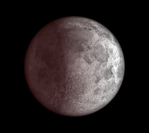 Užtemstantis Mėnulis Klaipėdoje - 9 val. ryte prieš pat saulėtekį, vaizdas sukurtas programa Starry Night Pro