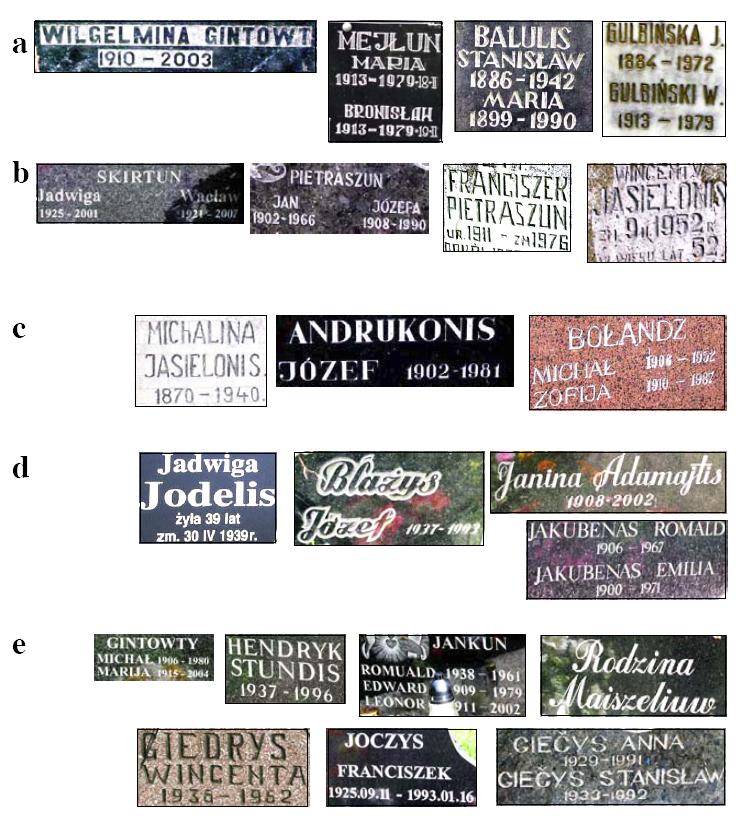 5 pav. Lietuviškos kilmės pavardžių pavyzdžiai: a - Nemenčinės (Vilniaus r.), b - Butrimonių (Šalčininkų r.), c - Eišiškių (Šalčininkų r.), d - Maišiagalos (Vilniaus r.) ir e - Paberžės (Vilniaus r.) kapinėse. Jei ne patys šių pavardžių savininkai, tai bent jų tėvai ar seneliai neabejotinai buvę lietuviai.