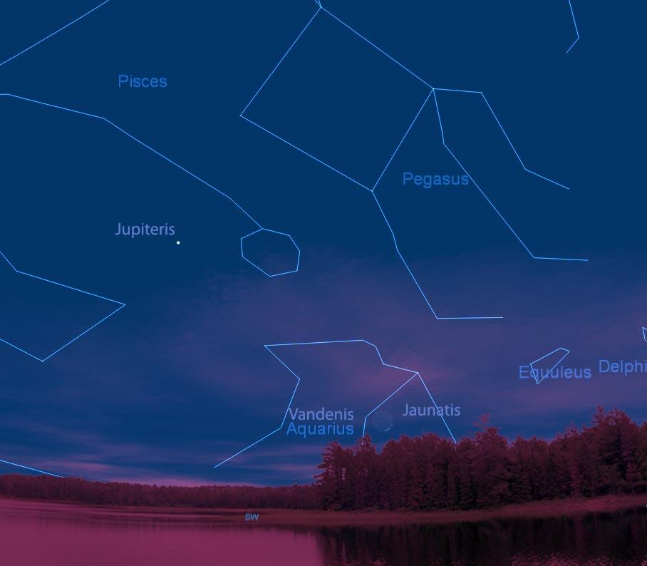 Jauno Mėnulio pasirodymas Žirgo (Vandenio) žvaigždyno fone, 2011 02 04 vakare po saulėlydžio   Dangaus vaizdas sumodeliuotas su Starry Night Pro