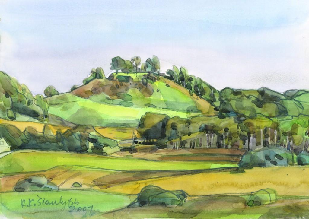 Bilionių piliakalnis. K.K.Šiaulytis, 2001, akvarelė, 29,7x42