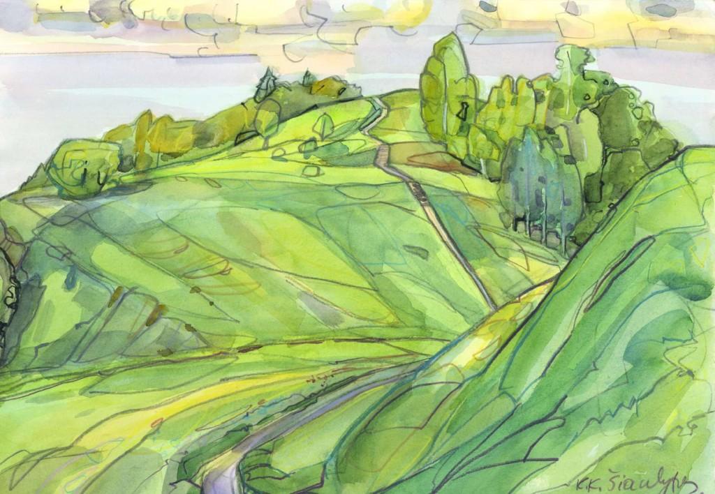 Medvėgalis. K.K.Šiaulytis, 2001, akvarelė, 29,7×42
