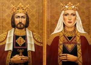 Karalius MIndaugas ir jo žmona Morta | Dailininkės Janinos Malinauskaitės tapyba