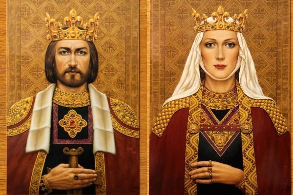 Karalius Mindaugas ir Karalienė Morta, © Dailininkės Janinos Malinauskaitės tapyba