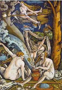 Hansas Baldungas Grienas. Raganos. Medžio raižinys, 1508
