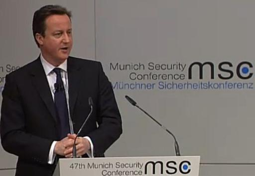 Deividas Kameronas kalba Saugumo konferencijoje Miunchene