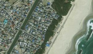 Arahama, Japonija. Matoma miesto dalis prieš katastrofą.