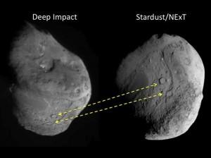 """Kometa """"Tempel-1"""" prieš penkerius metus (kairėje) ir prieš keletą dienų (dešinėje)"""