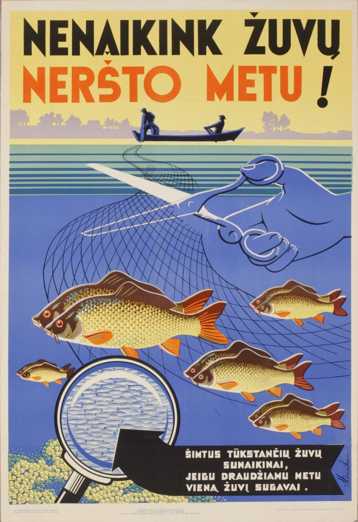 """V.Kosciuška. Plakatas """"Nenaikink žuvų neršto metu"""". 1958. A.Kosciuškaitės – Petkevičienės nuosavybė"""