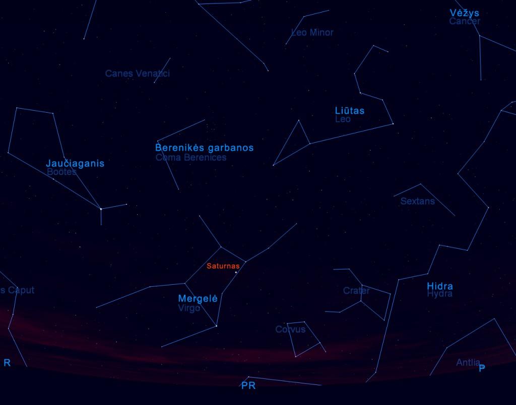 Saturnas tarp balandžio žvaigždžių 2011 04 15 d. 22 val.