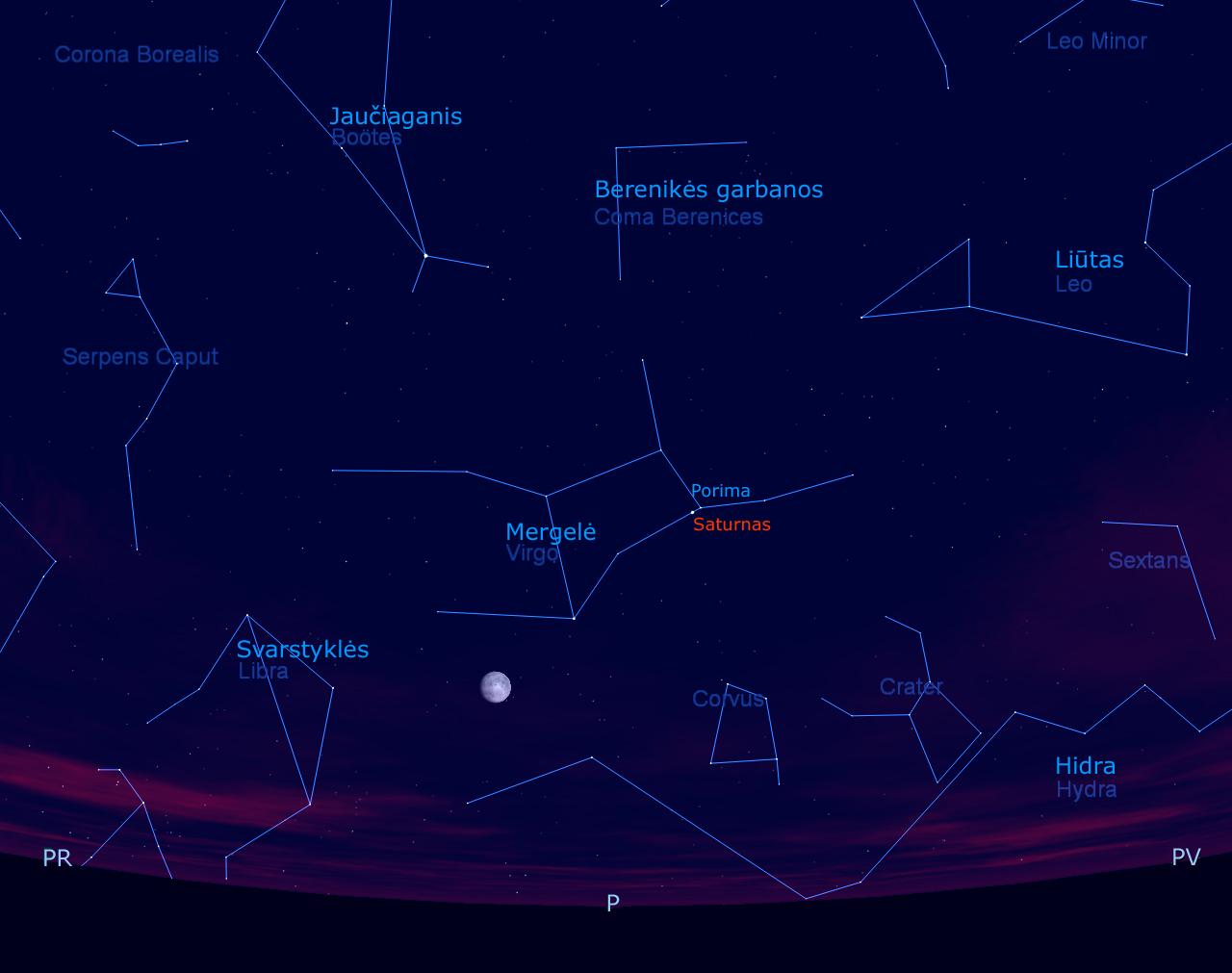 Saturnas, Mėnulis ir žvaigždės pietų padangėje, gegužės 15 d. 23 val.