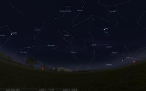 Šiaurėje Kasiopėja, o rytuose teka Didysis vasaros trikampis. Stellarium.org