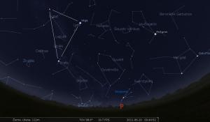 """Vasaros Trikampis, Saturnas ir Pietų pusrutulio žvaigždynai. Pieš. sukurtas su """"Stellarium"""" programa"""