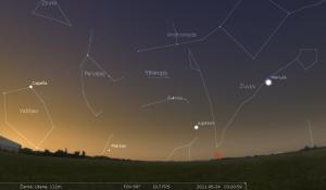 Jupiteris ir Marsas antroje mėnesio pusėje paryčiais