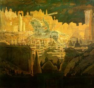 M. K. Čiurlionis. Miestas. Preliudas. 1908-1909. Popierius, tempera. 59,0x70,4