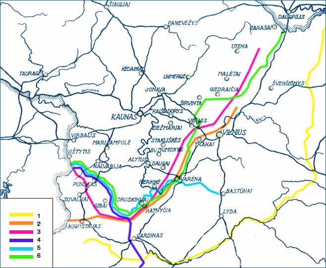 Lietuvos – Lenkijos demarkacinės linijos 1919–1920 metais žemėlapis: 1) Lietuvos-Sovietų Rusijos siena pagal 1920 m. taikos sutartį, 2) pirmoji demarkacinė linija su Lenkija, nustatyta 1919 m. birželio 18 d., 3) Maršalo Fošo 1919 m. liepos 27 d. nustatyta Lietuvos-Lenkijos demarkacinė linija, 4) Kerzono linija, nustatyta 1919 m. gruodžio 8 d., 5) Suvalkų sutarties sienos linija, nustatyta 1920 m. spalio 7 d., 6) galutinė administracinė Lietuvos pasienio linija su Lenkija, buvusi iki Vilniaus krašto atgavimo 1939 metais.