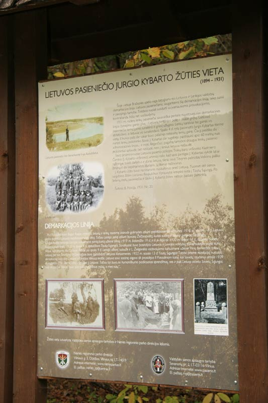 Informacinė lenta pasieniečio Jurgio Kybarto žūties vietoje | pasienis.lt nuotr.