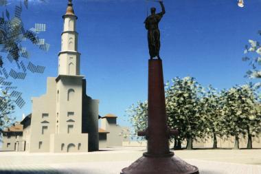 """Ankstesnis Antano Mackevičiaus paminklo, ketinto statyti Kauno Rotušės aikštėje, projektas – S.Mikalausko ir skulptoriaus Alfonso Vauros projektas """"Kunigas"""""""