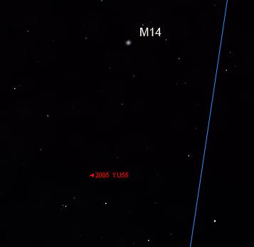 Asteroido padėties išdidinta vieta. © J. Vaiškūno pieš.