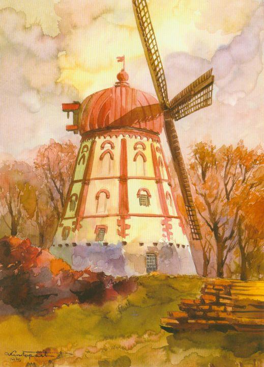 Baisogalos vėjo malūnas iš vakarų. 1976 11 06. A. Krištopaičio akvarelė. (Lietuvos malūnai A. Krištopaičio akvarelėse, V., 2007, p. 24)