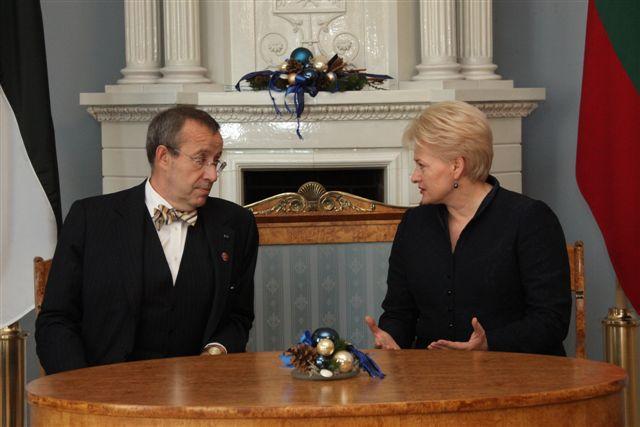 Estijos prezidentas Tomas Hendrikas Ilvessas su Lietuvos prezidente Dalia Grybauskaite | Prezidentės spaudos tarnyba