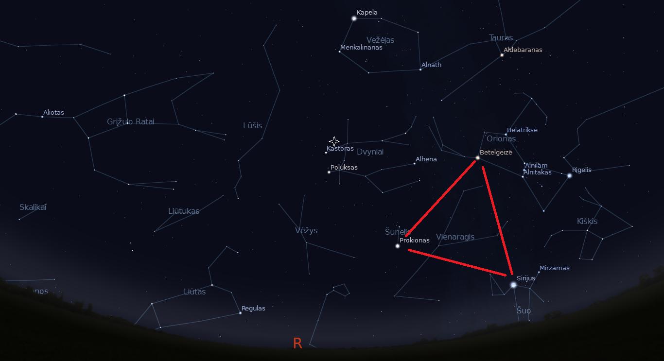 """Dangus mėnesio viduryje apie 22 val. Didysis Žiemos Trikampis pažymėtas raudonai, o Geminidų radianas balta žvaigždute. """"Stellarium"""" nuotr."""