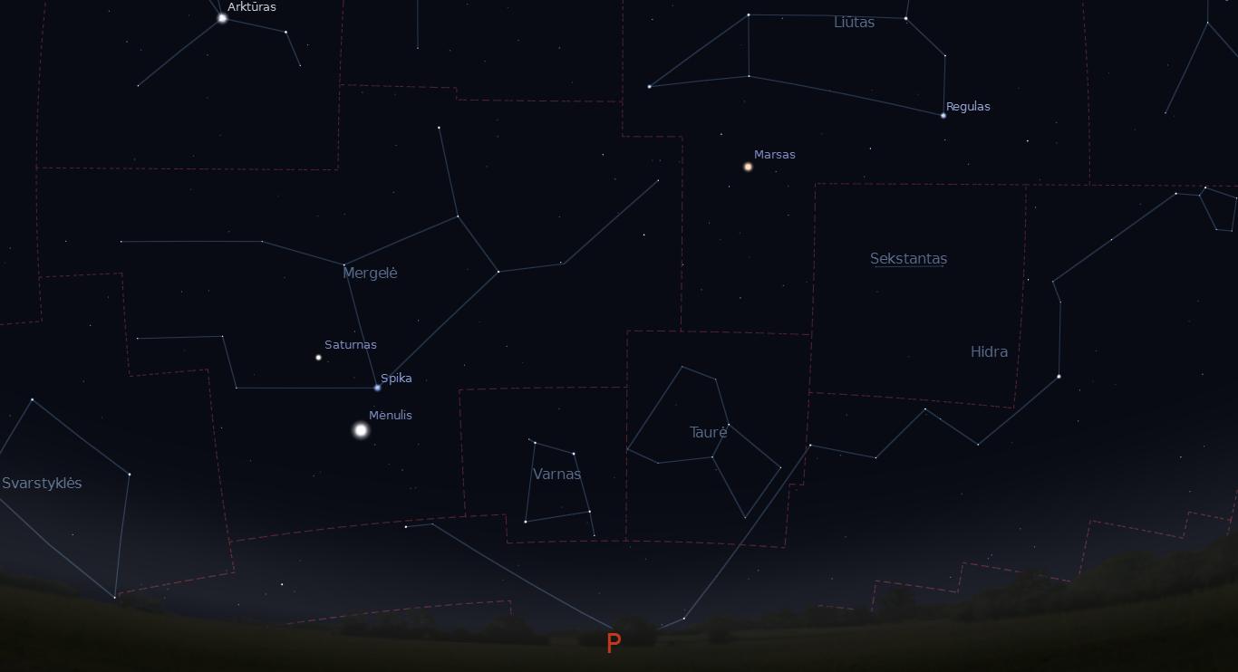 """Dangus gruodžio 20 d. paryčiais. Saturnas, Spika ir Mėnulis danguje sudarys keistą figūrą, panašią į kreivą šypseną. Aukščiau Liūte stypsos Marsas. """"Stellarium"""" nuotr."""