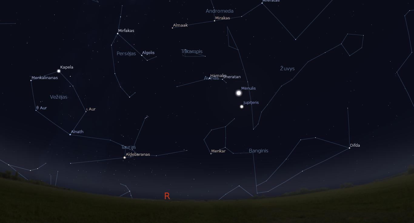 """Šalia Jupiterio, gruodžio 6 d. vakarą, atsidurs priešpilnis Mėnulis. """"Stellarium"""" nuotr."""