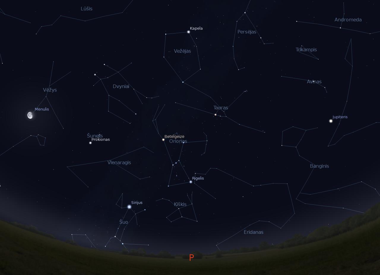 1 pav. Pietinė žvaigždėto dangaus sklaiuto pusė 2011-12-15 d., vidurnaktį