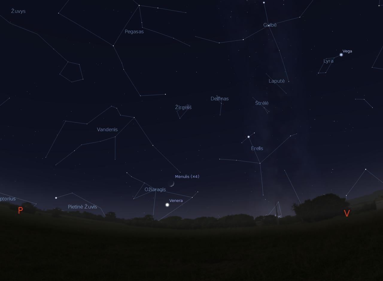 2 pav. Jaunas Mėnulis šalia Veneros-Vakarinės 2011-12-27, d.17:30 val