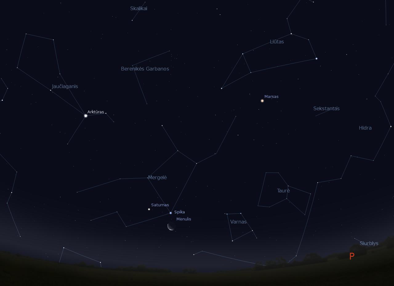 4 pav. Dylančio Mėnulio pjautuvas šalia Saturno ir Spikos 2011-12-20 d., 5 val.