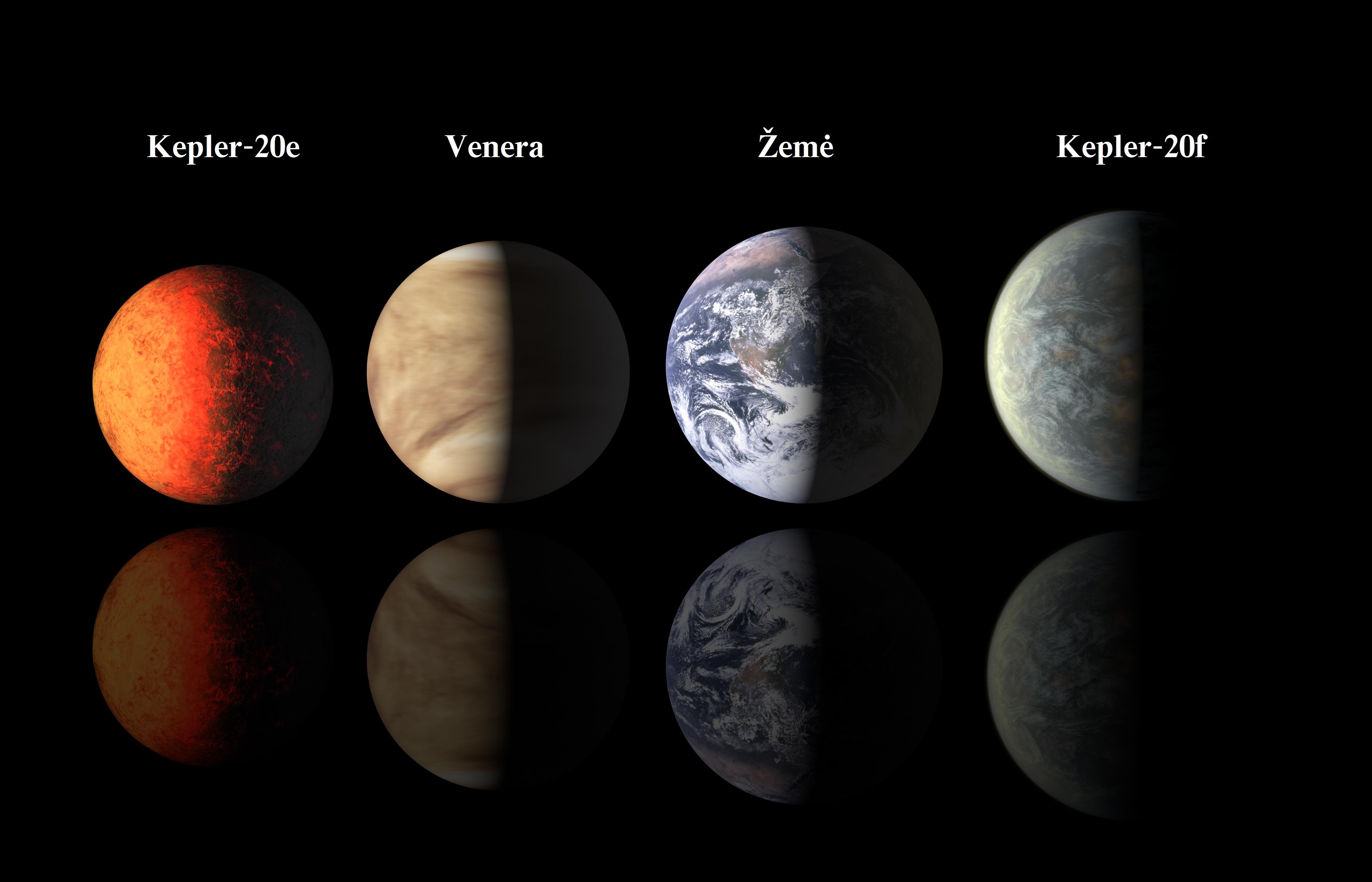 Atrastų mažiausių planetų palyginimas su Žeme ir Venera. NASA pav.