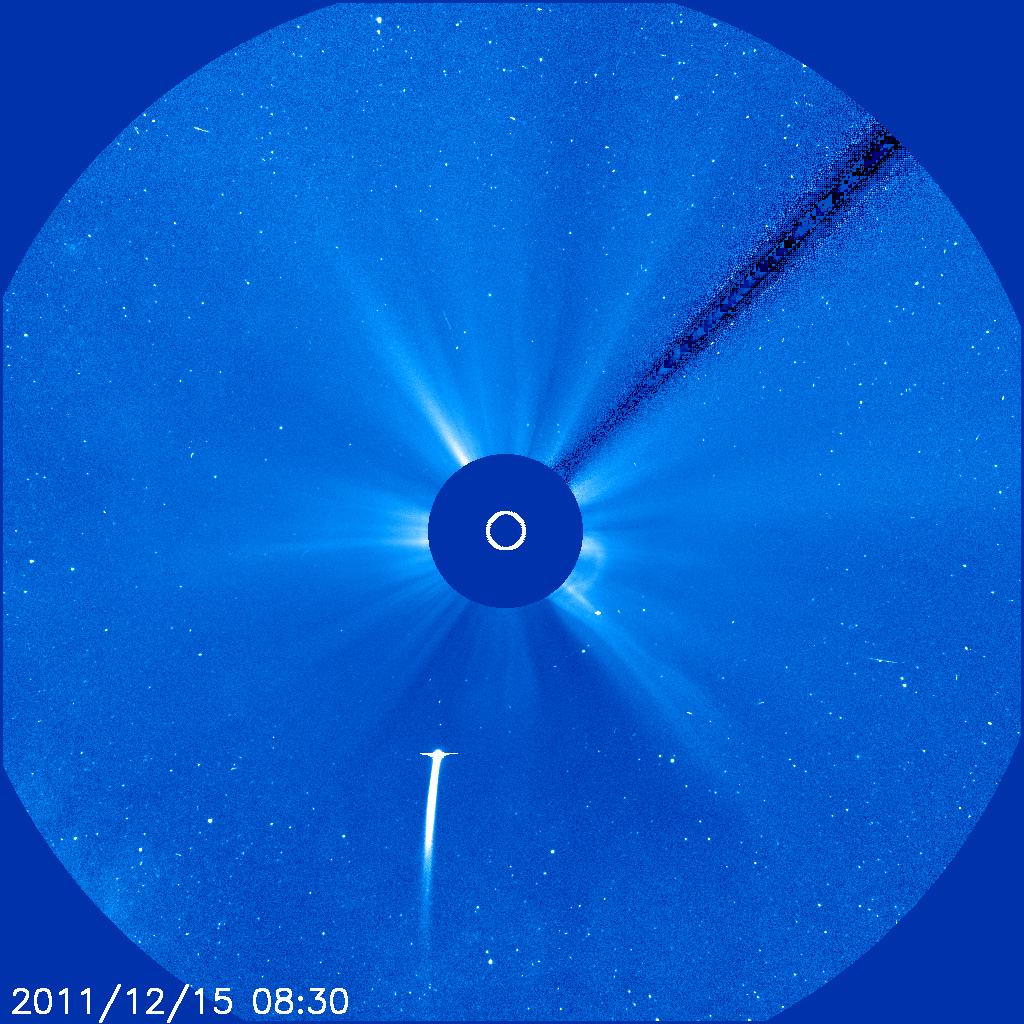 Kometa Lovejoy (C/2011 W3) straipsnio rašymo metu matoma SOHO observatorijoje. NASA nuotr.