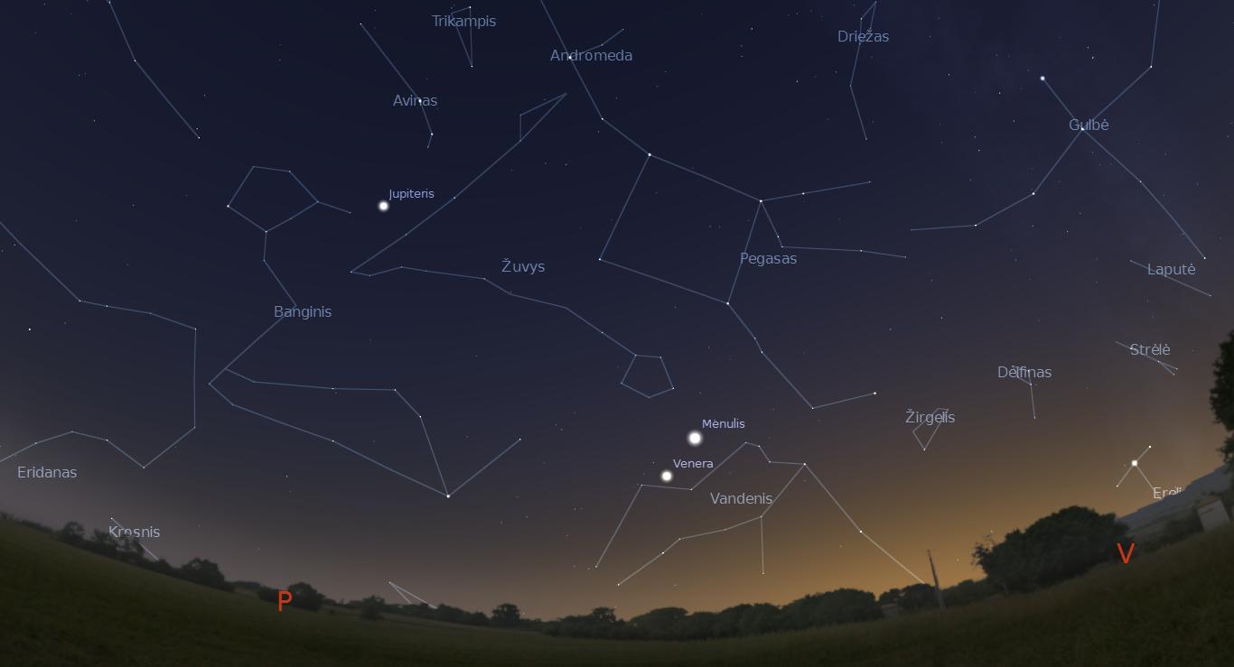"""Veneros ir pilnėjančio Mėnulio susitikimas sausio 26 dieną. """"Stellarium"""" pav."""