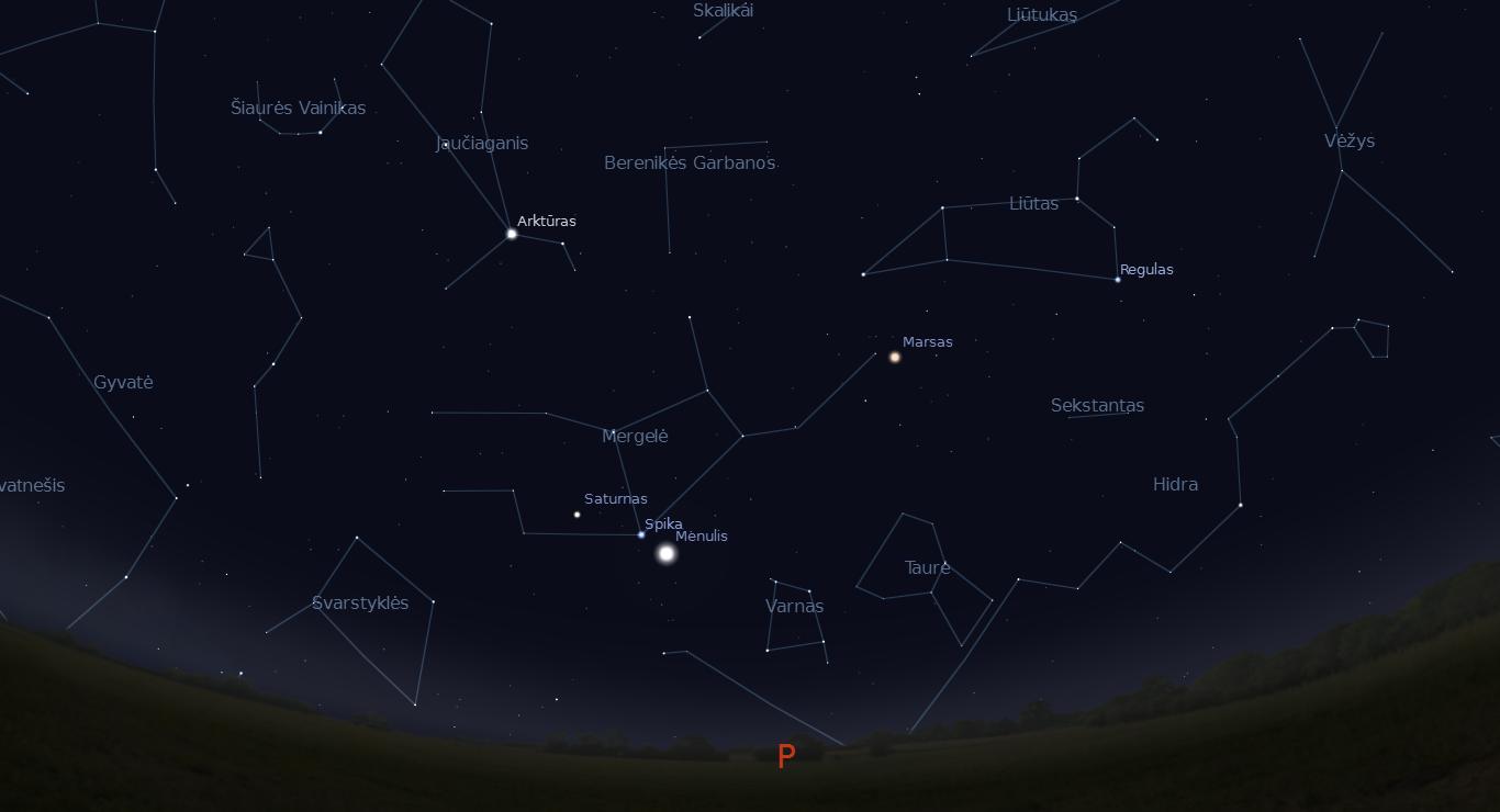 """Saturnas, Spika ir Mėnulis – trys dangaus keliauninkai kartu sausio 16 dienos paryčiais. """"Stellarium"""" pav."""