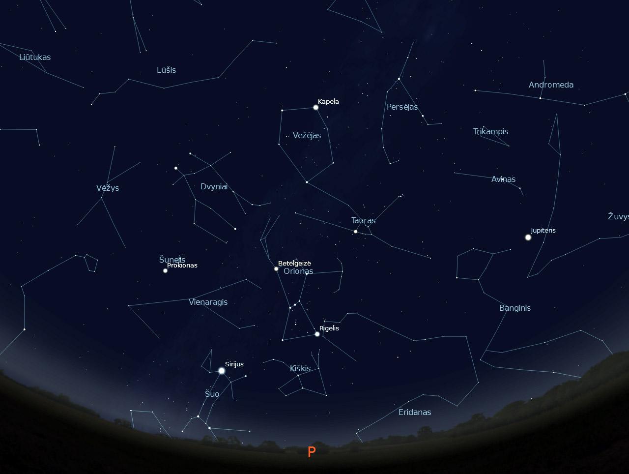 """2 pav. Pietinė žvaigždėto dangaus pusė sausio 15 d. 22 val., """"Stellarium"""" pieš."""