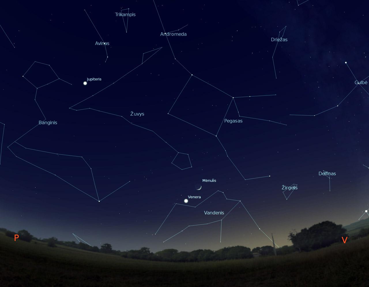 """3 pav. Jaunas Mėnulis šalia Vakarinės-Veneros, sausio 26 d., 18 val., """"Stellarium"""" pieš."""