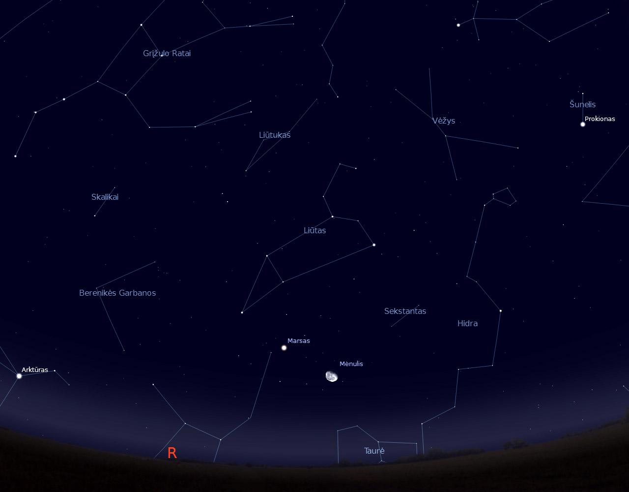 """4 pav. Dylantis Mėnulis prie Marso, sausio 14 d. vidurnaktyje, """"Stellarium"""" pieš."""