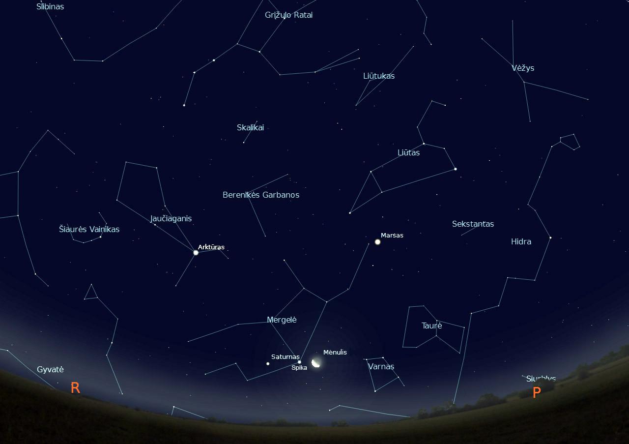 """5 pav. Saturnas, Spika ir dylantis pusmėnulis, sausio 16 d., 3 val., """"Stellarium"""" pieš."""