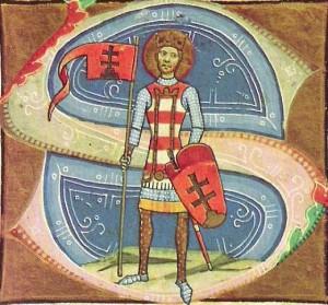 Šv. Steponas (967/975–1038), pirmasis Vengrijos karalius (Chronicon Pictum miniatiūra, 1360 m.)