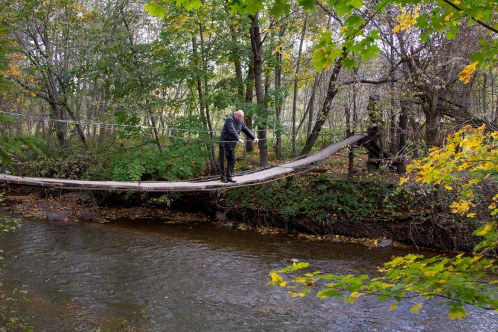 Kabantis tiltas per Akmenos upę prie Indijos kaimo | Plynosios telmologinis draustinis | K.Stalnionytės nuotr.