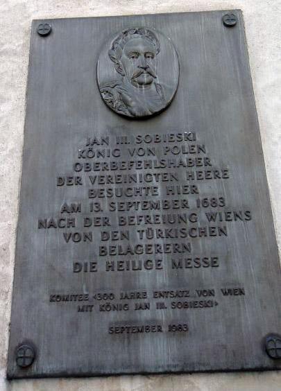 Pav. 3. Memorialinė lenta Jonui Sobieskiui ant Šv. Augustino bažnyčios Vienoje