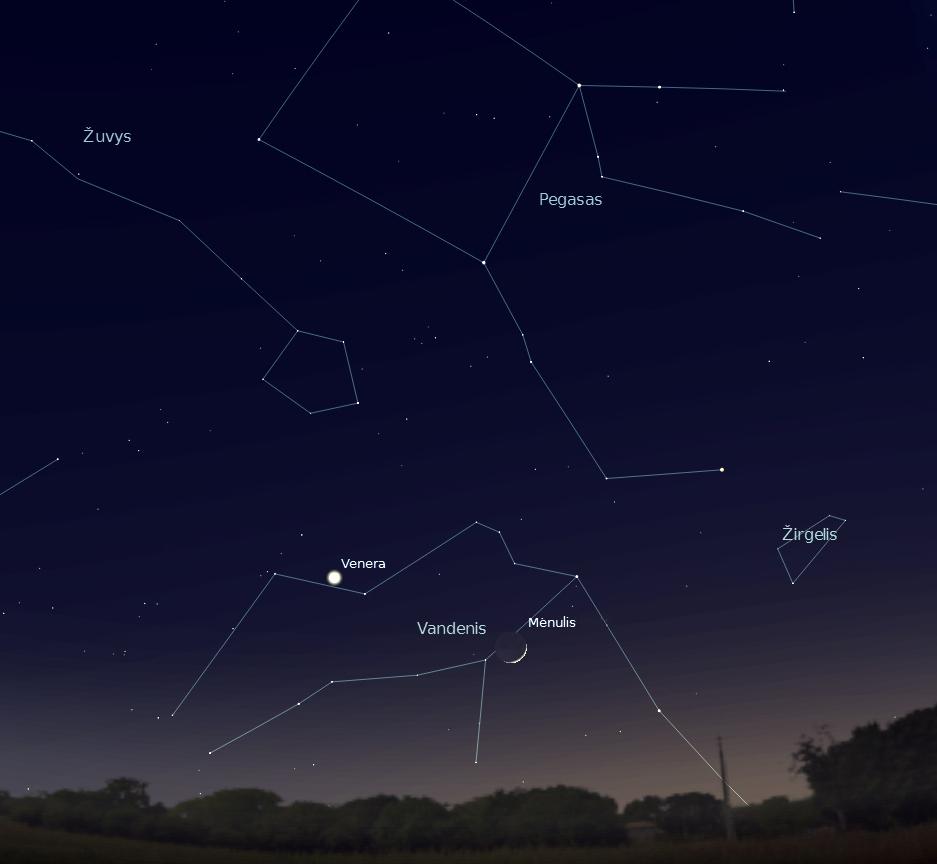 2 Pav. 2012 m. sausio 25 d. 18 val. vakarų padangė. Jaunas Mėnulio pjautuvas Žirgo (Vandenio) žvaigždyne (šalia mislingai švytinčių kitų su žirgo vaizdiniu siejamų žvaigždynų – Pegaso ir Žirgelio).