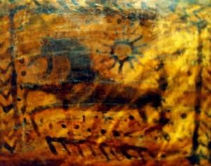 Su zodiakiniu Vandenio žvaigždynu siejamas žirgo vaizdinys. Atvaizdas ant viduramžių apeiginio kaušo iš Gardino | J.Vaiškūno nuotr.