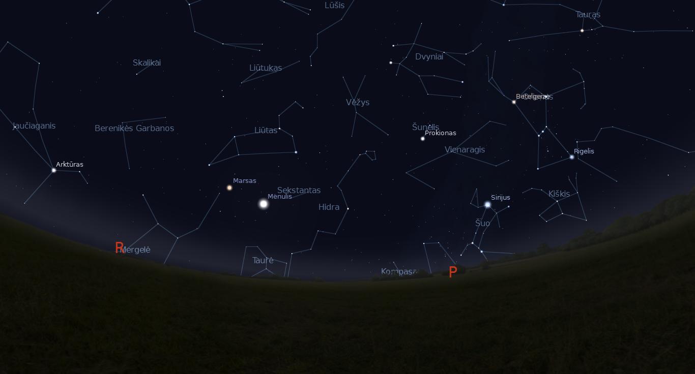 """Vasario 9 dieną šalia Marso danguje praslinks Mėnulis. """"Stellarium"""" nuotr."""