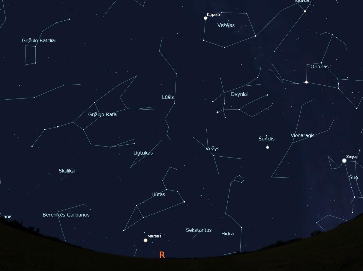 """Rytinės dangaus pusės žvaigždynai, vasario 15 d., 20 val.,  """"Stellarium"""" nuotr."""