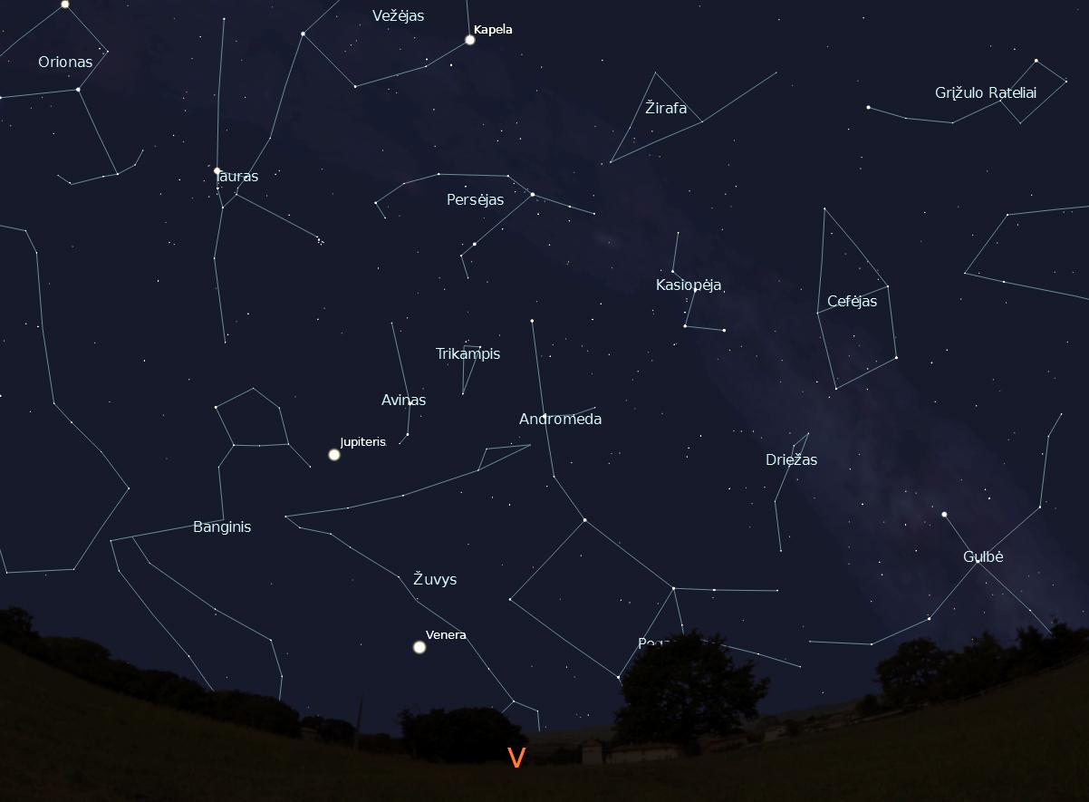 """Vakarinės dangaus pusės žvaigždynai, vasario 15 d., 20 val.,  """"Stellarium"""" nuotr."""
