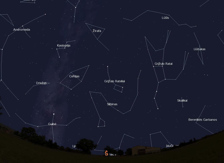 """Šiaurinės dangaus pusės žvaigždynai, vasario 15 d., 20 val.,  """"Stellarium"""" nuotr."""